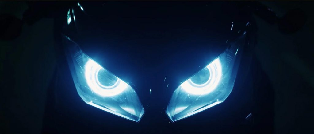 Kawasaki Your Move Ninja Motorcycle headlights eyes Frame 48 commercial production vfx black dark